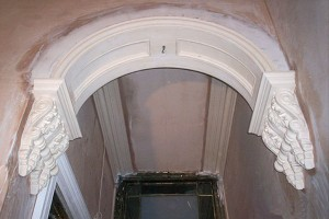 semicircular coffered archway